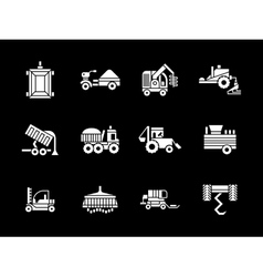 White glyph agriculture vehicles icons vector image