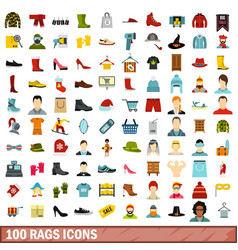 100 rags icons set flat style vector