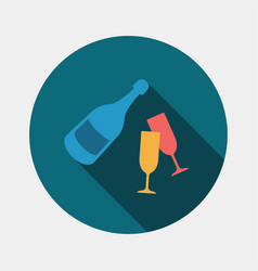 A bottle of champagne and glasses icon vector
