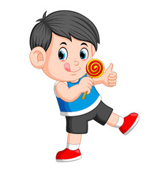 a boy licking lollipop and giving you thumb up vector image