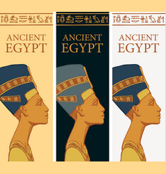 Ancient egypt banners with profile queen vector