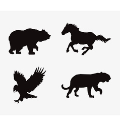 animal silhouettes horse feline eagle and bear vector image