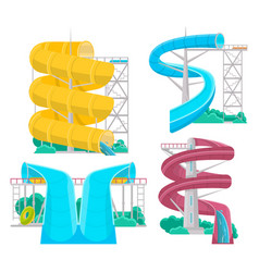 aqua park water slides isolated set vector image