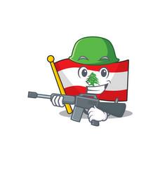 Army flag lebanon mascot isolated cartoon vector