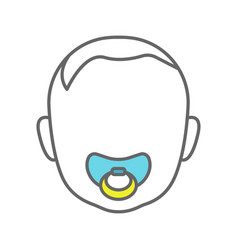 baby face with pacifier color icon vector image