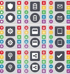 Badge Battery Message Gear Calendar Tablet PC vector