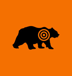 bear silhouette with target icon vector image