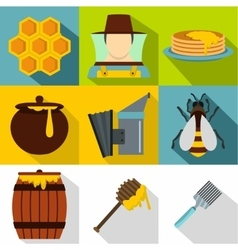 Beekeeping farm icons set flat style vector