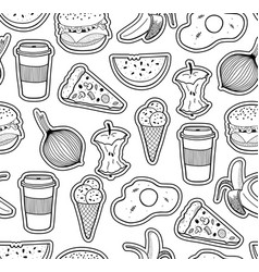 black and white seamless with food vector image