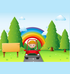 Boy driving red car in the park vector