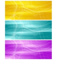 Bright banners with abstract chaotic wavy lines vector