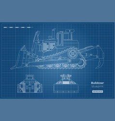 bulldozer in outline style front side back view vector image