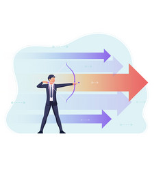businessman aiming target with bow and arrow vector image