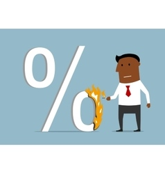 Businessman reducing loan percent vector