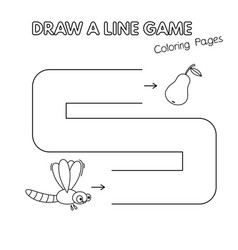 cartoon dragonfly coloring book game for kids vector image