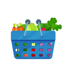 cartoon flat icon with organic vegetables vector image