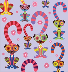 Cartoon lemur pattern vector