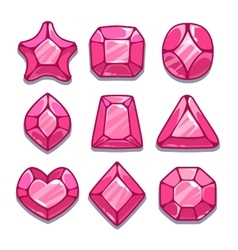 Cartoon pink different shapes gems set vector image