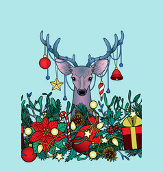 Christmas deer outline seamless border vector