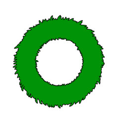 christmas wreath symbol icon design green circle vector image