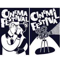 cinema festival poster with old fashioned vector image
