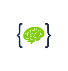 Code brain logo icon design vector