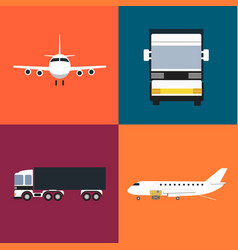 commercial cargo transportation icons set vector image