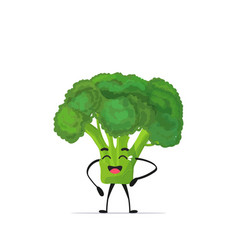 Cute broccoli character cartoon mascot vegetable vector