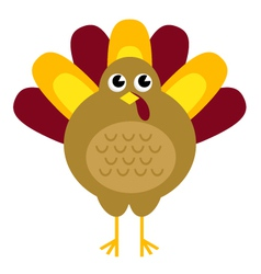 Cute retro thanksgiving turkey isolated on white vector