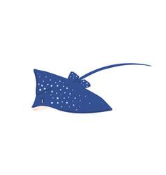 Cute spotty stingray with tail marine ray fish vector