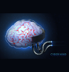 cyberpunk technology of the future cyber mind vector image