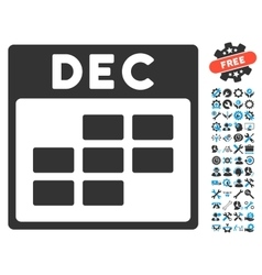 December Calendar Grid Icon With Bonus vector