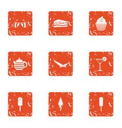 dessert morning icons set grunge style vector image