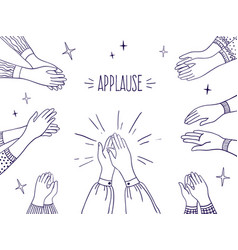 doodle applause happy people hands high five vector image