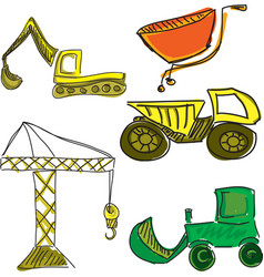 Drawn colored building vehicles vector