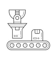 Factory conveyor loading parcel line icon vector