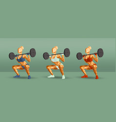 female in gym doing squats new vector image