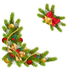 Fir corner with decorations vector