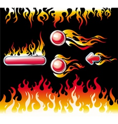 fire and flame graphic elements vector image vector image