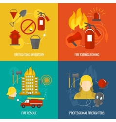 Firefighting icons composition vector image