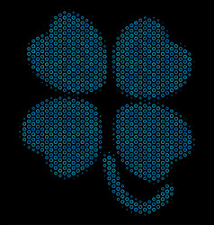Four-leafed clover collage icon of halftone vector
