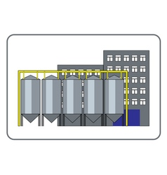 Grain processing plant icon in frame vector