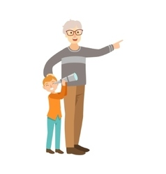 Grandfather And Grandson Looking Through Telescope vector image