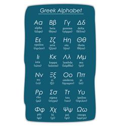 Greek alphabet on blue background vector