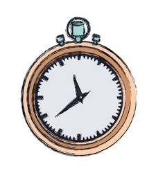 hand drawing color graphic of stopwatch with thick vector image