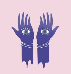Hands with eyes meditation mysticism or vector
