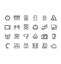 Home appliances line icons household electric vector