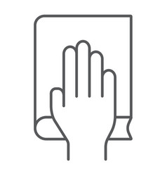 Honestly thin line icon truth and trust palm on vector