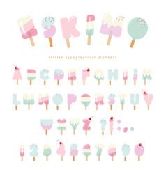 Ice cream eskimo font popsicle colorful letters vector