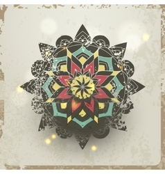 Indian grunge Ornament with sparkles and real vector image